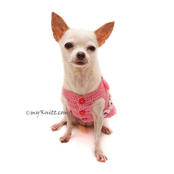 Pink Peach Girly Dog Dress with Ruffle Crochet, Peach Dog Dress Bow ...