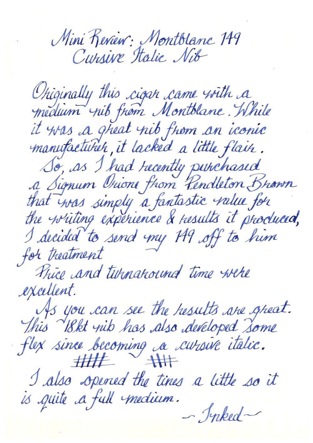 medium cursive italic nib by pendleton brown montblanc royal blue ink gvfc a4 cursive. Black Bedroom Furniture Sets. Home Design Ideas