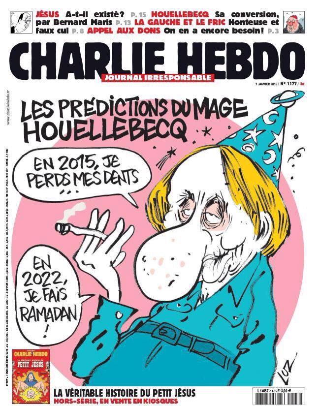 La copertina del #giornale satirico #CharlieHebdo, bersaglio dei terroristi. Ma come si può ammazzare per una caricatura?