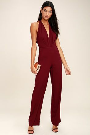 a6c04e1c5418 You ll jump at any invitation just so you can don the Can t Hardly Wait  Burgundy Halter Jumpsuit! Sleek woven poly shapes this sexy jumpsuit with a  tying ...