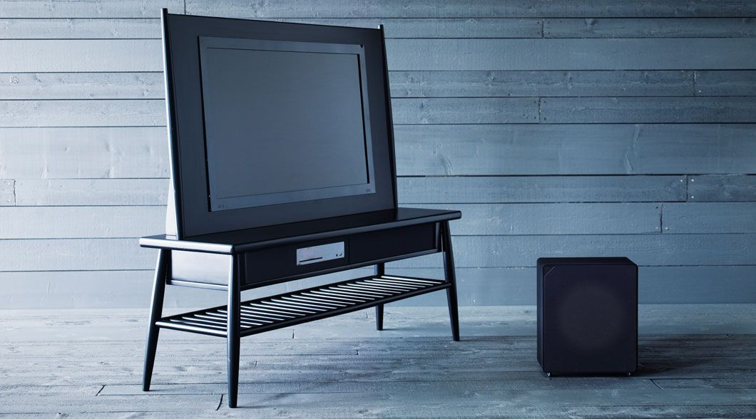 himna tv bank in schwarz mit uppleva 40 39 39 fernseher ikea. Black Bedroom Furniture Sets. Home Design Ideas