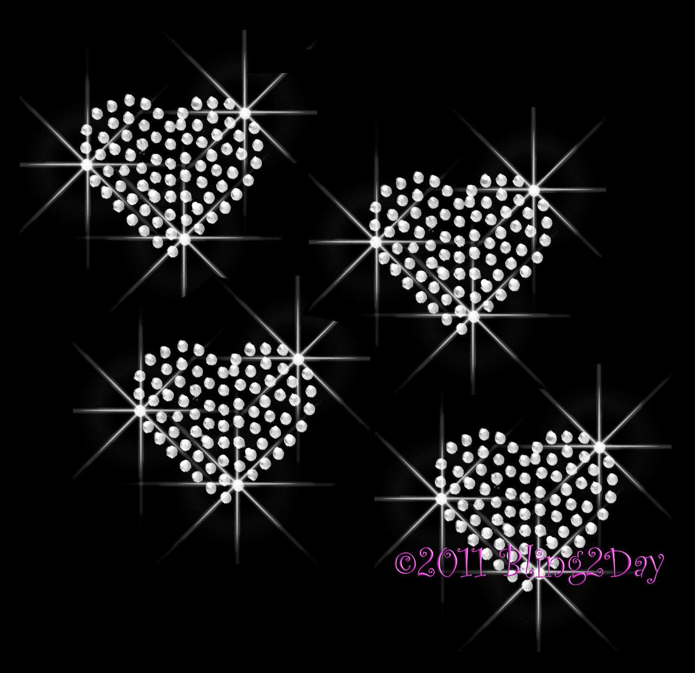 Rhinestone Bling Sparkle Iron On Transfer DIY Valentines Day Love Hearts