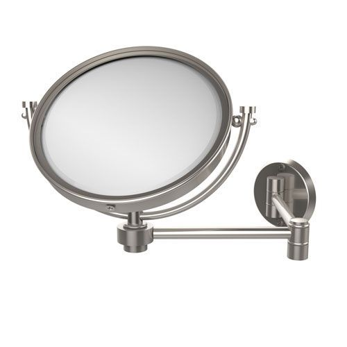8 Inch Wall Mounted Extending Make-Up Mirror 2X Magnification, Satin Nickel