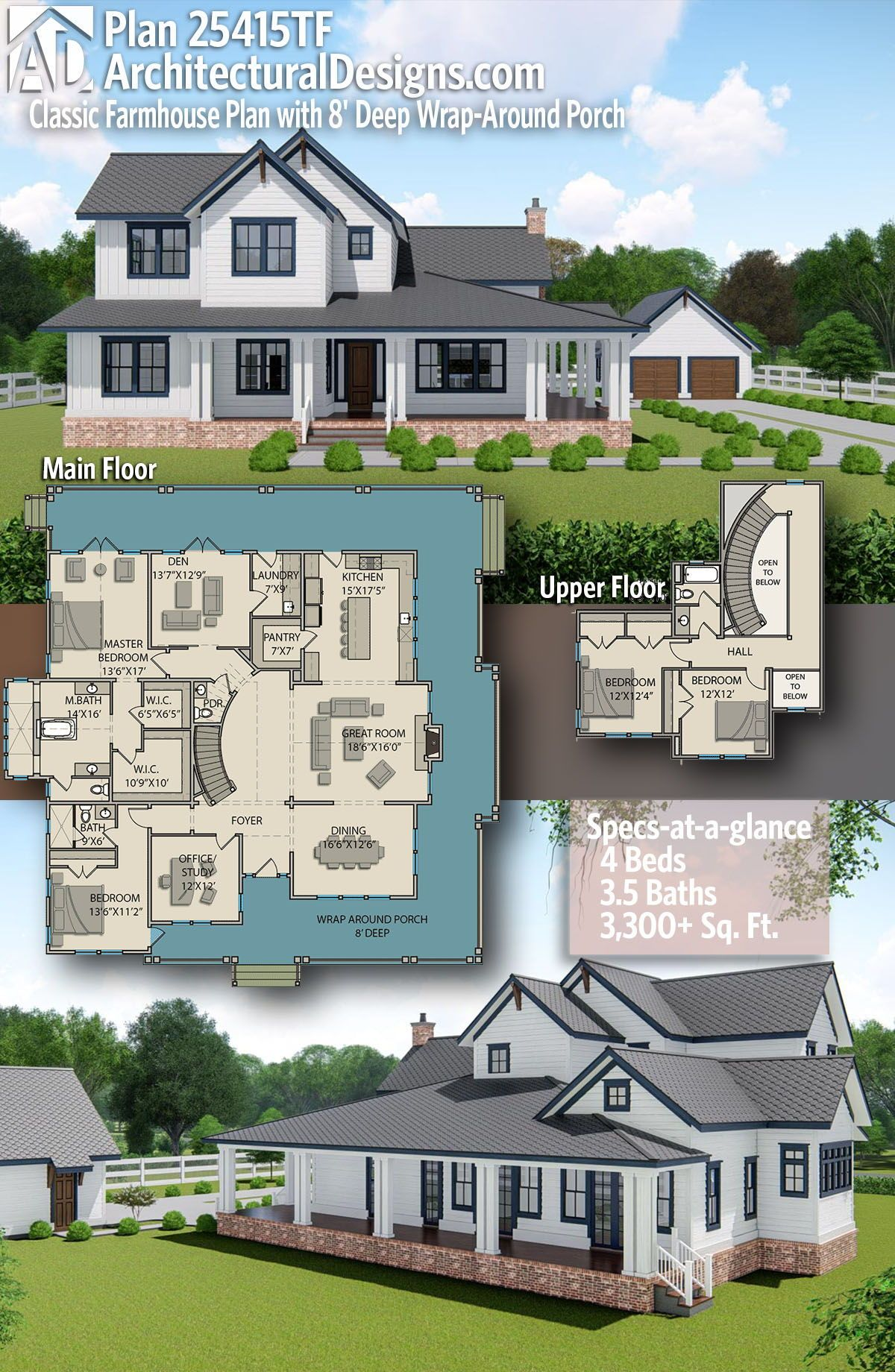 Plan 25415TF: Classic Farmhouse Plan with 8 #futurehouse