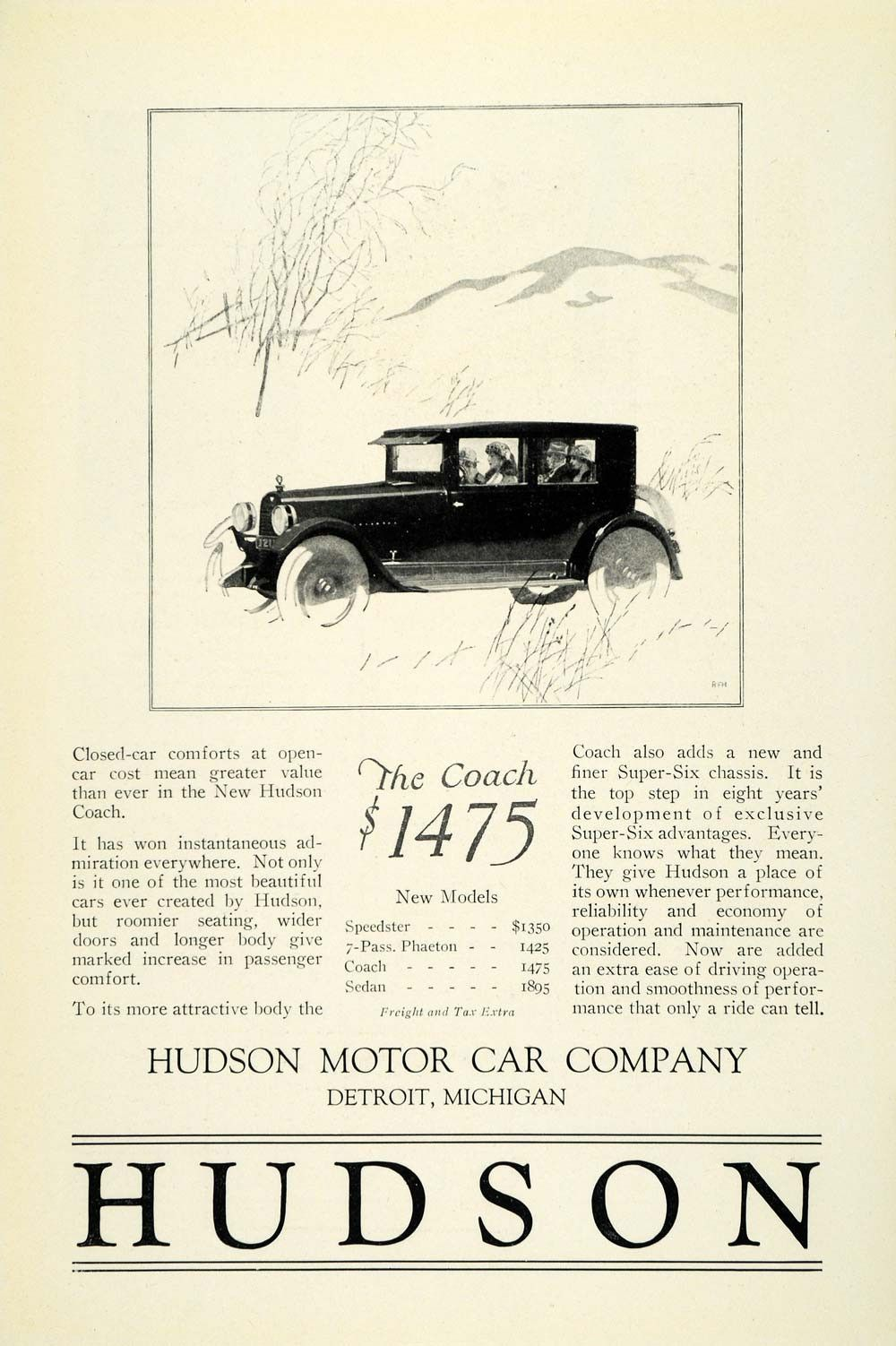 1924 Ad Antique Enclosed Hudson Coach Automobile Super Six Chassis ...