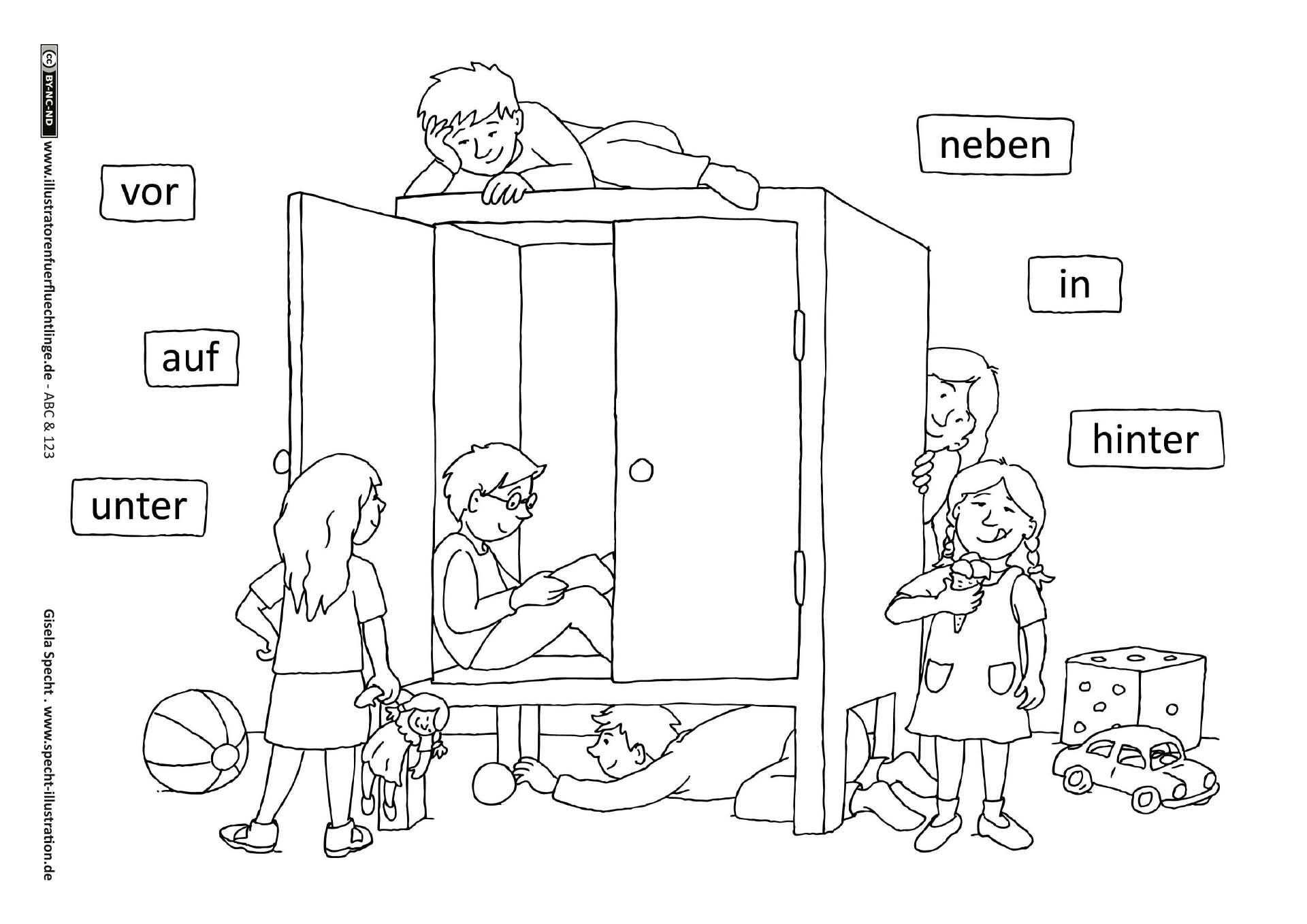 ABC und 123 Prpositionen Specht vorschule t