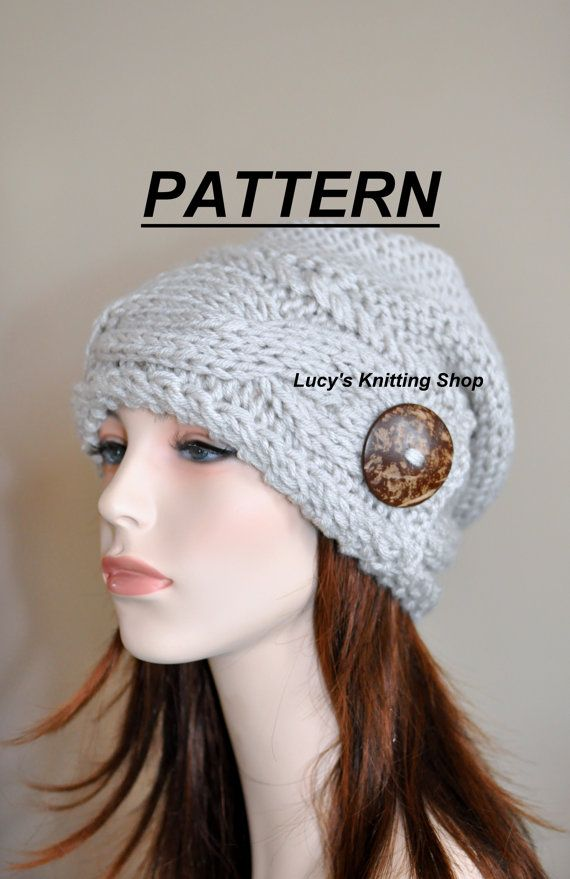 Slouchy Hat PDF PATTERN DIY Slouch Beanie Cable Button Knit Women ... 158ef8c9764