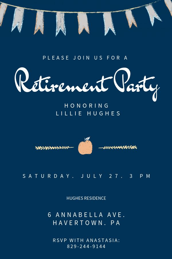 blue retirement party invitation template click to customize