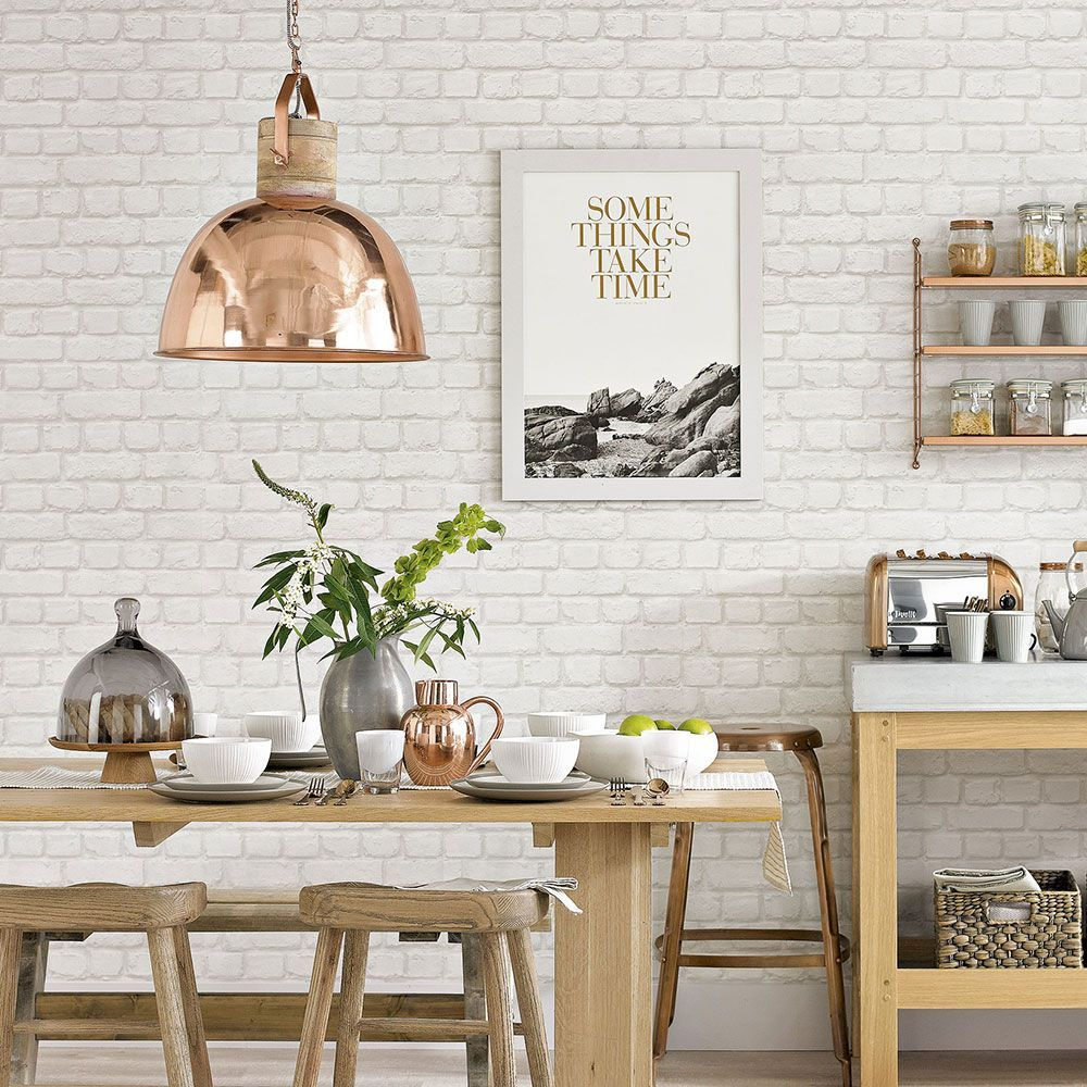 White country kitchen with brick effect wallpaper ...
