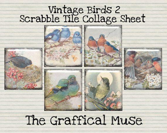 Vintage Birds 2 Digital Scrabble Tile Collage Sheet, Instant Download for Altered Art, Pendants, & Mixed Media 30 Images