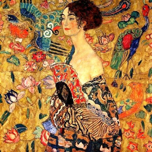 Gustav Klimt. Lady with Fan. This half portrait of a young lady shows an awesome background with Asiatic ornaments. The lady wears a dress in the style of a kimono imprinted with motifs of a Chinese dragon dress 1917