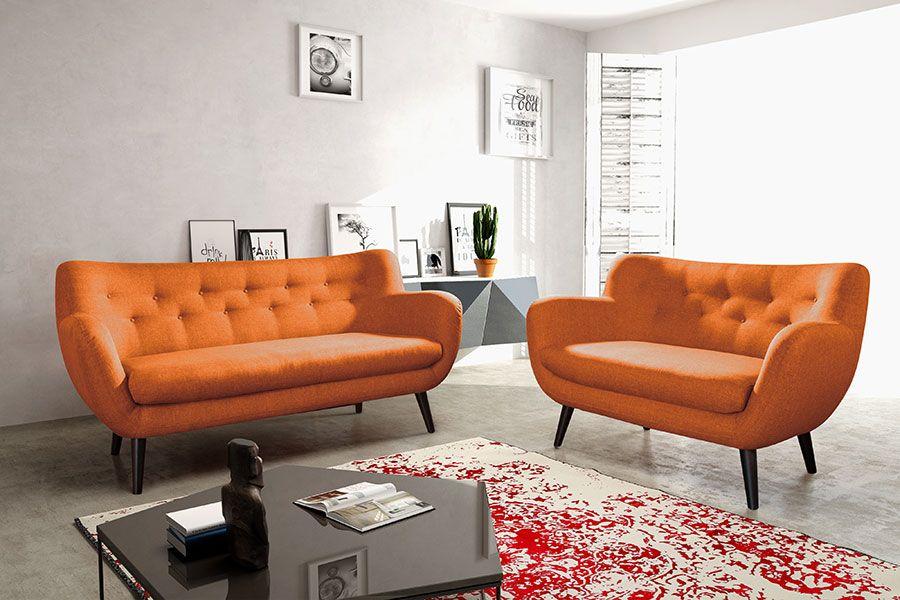 Ensemble Canape Fixe 3 2 Places Orange En Tissu Style Scandinave
