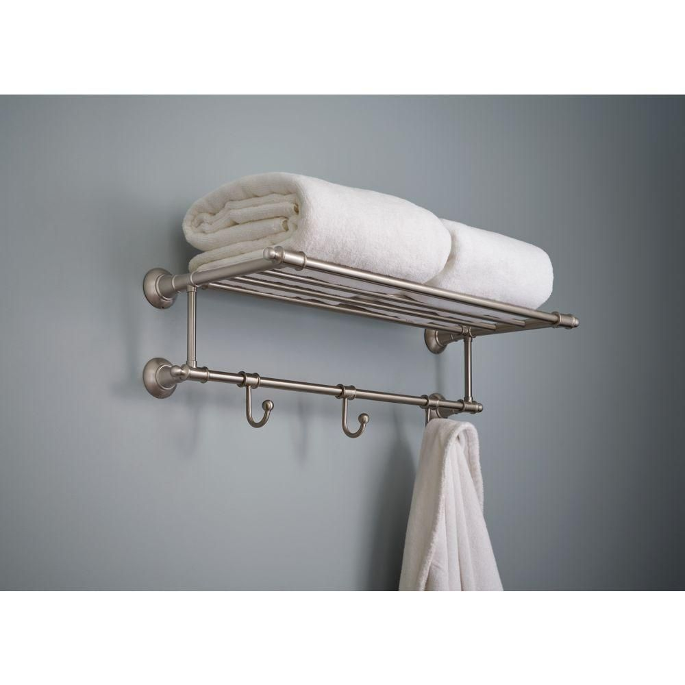 Delta 24 in. Towel Shelf with 3 Towel Hooks in SpotShield Brushed ...