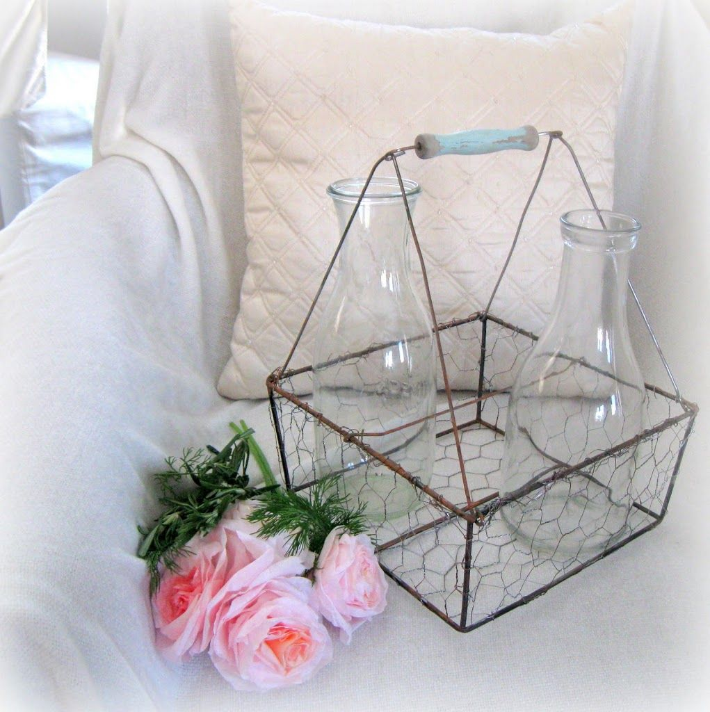 DIY Vintage Wire Milk Basket....made from a $ store woven basket ...