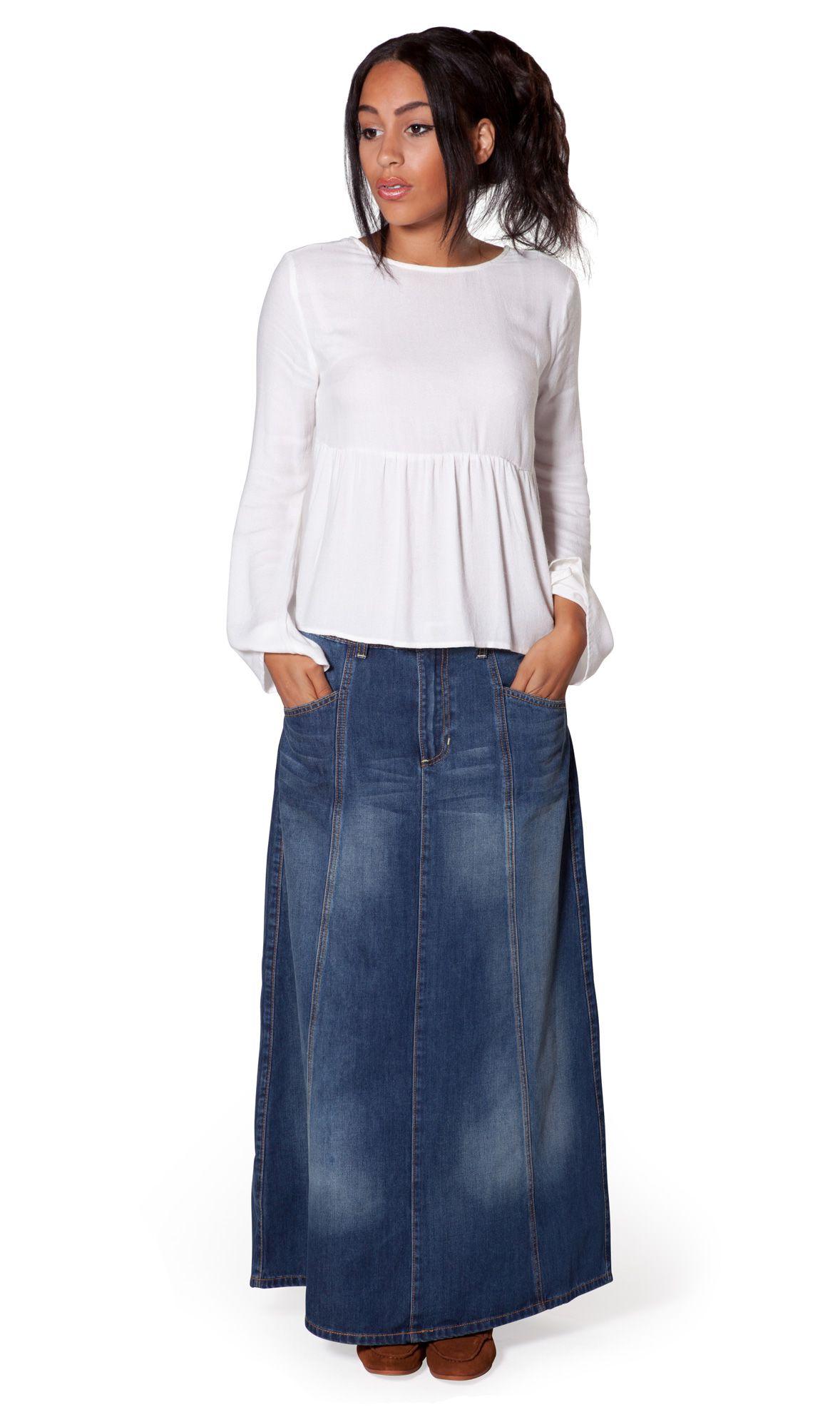 Love this USKEES Janice Denim Skirt - Medium weight faded Denim ...