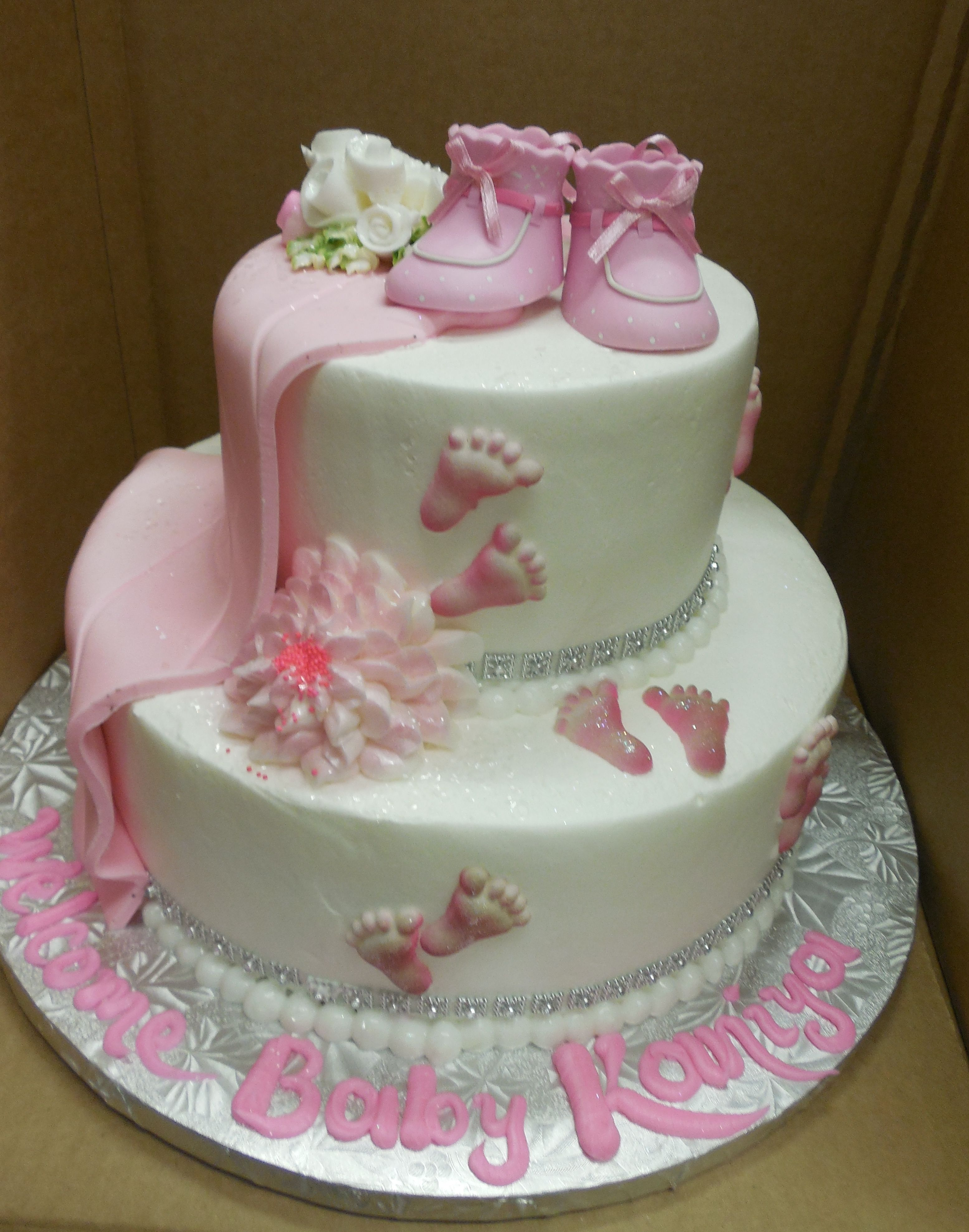 Nice Baby Shower Cakes Calgary Part - 13: Calumet Bakery Baby Shower Cake With Pink Fondant Blanket, Sugar Feet, And  Pink Booties