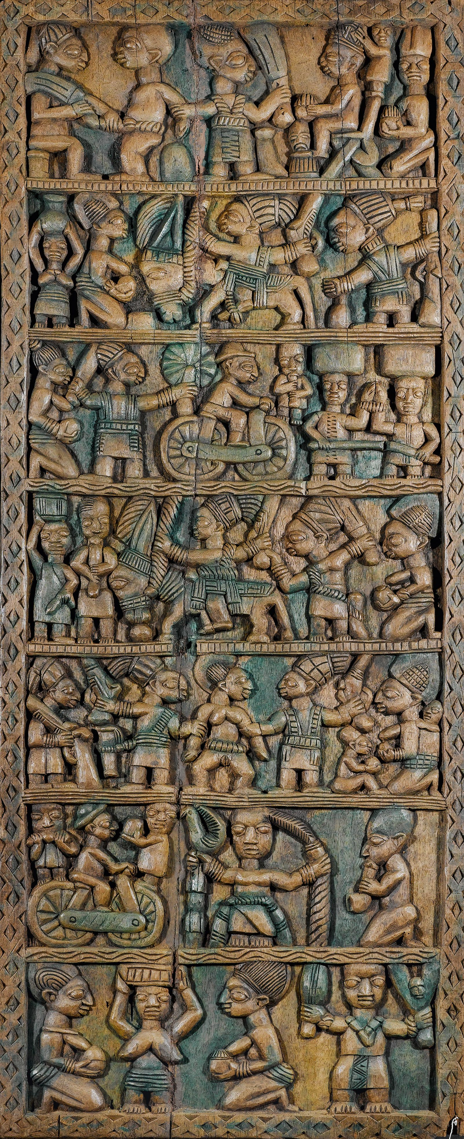 Early century areogun oder oshamuko von osi artist palace door panel from the yoruba people of northern ekiti region of nigeria africa