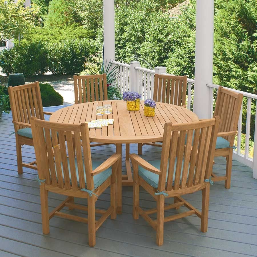 Solid Teak Outdoor Dining Table With A Detailed Undercarriage Chelmsford 59 In Round Table Outdoor Dining Table Large Round Dining Table Dining Table