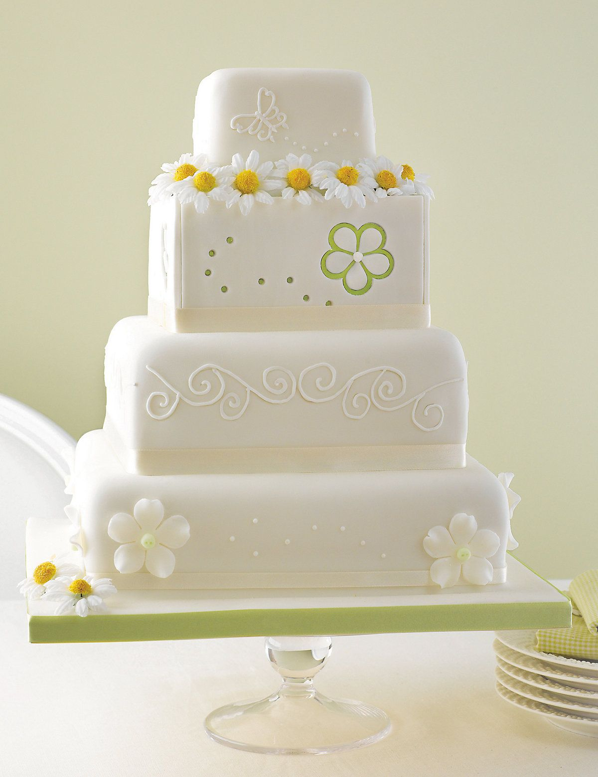 The tier meadow assorted cake with different designs on each tier