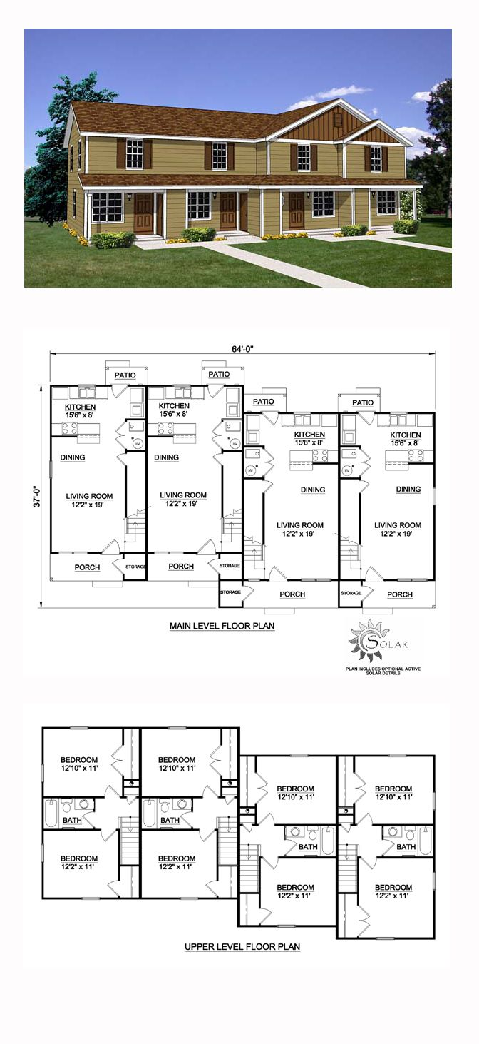 Quadplex plan 94485 total living area 3492 sq ft 8 for Quadplex plans