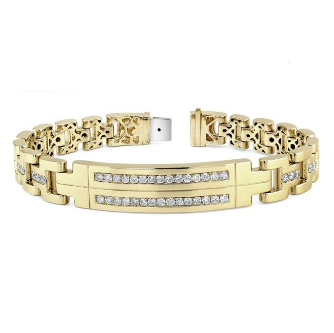 14k Yellow Gold Mens Diamond Bracelet 14k Yellow Gold Mens