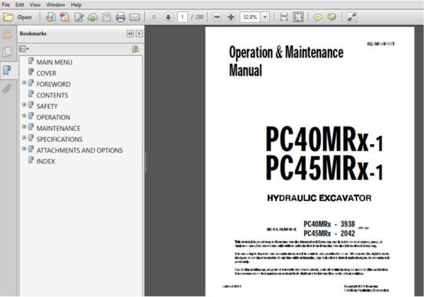 Komatsu Pc40mrx 1 Pc45mrx 1 Hydraulic Excavator Operation Maintenance Manual Seam043000t Pdf Operation And Maintenance Hydraulic Excavator Excavator