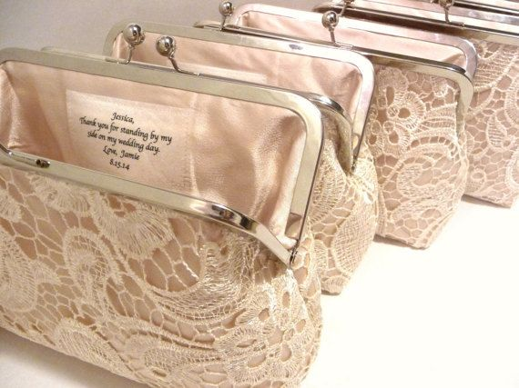 e4dcdfa565 Set of 4 Champagne Lace Bridesmaid Clutches, Satin Personalized Lace Clutch,  Wedding Clutch Set, Lace Gift Set, Eight inch Frame