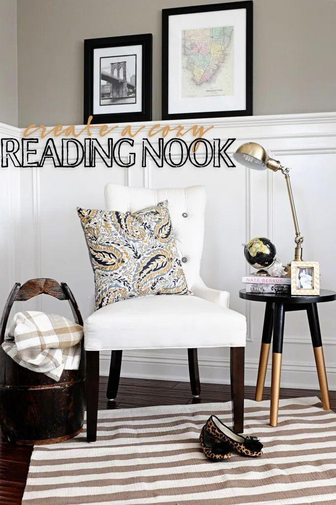Create a pretty reading nook. #interiordesign #homedecor #design #pinkpeppermintdesign