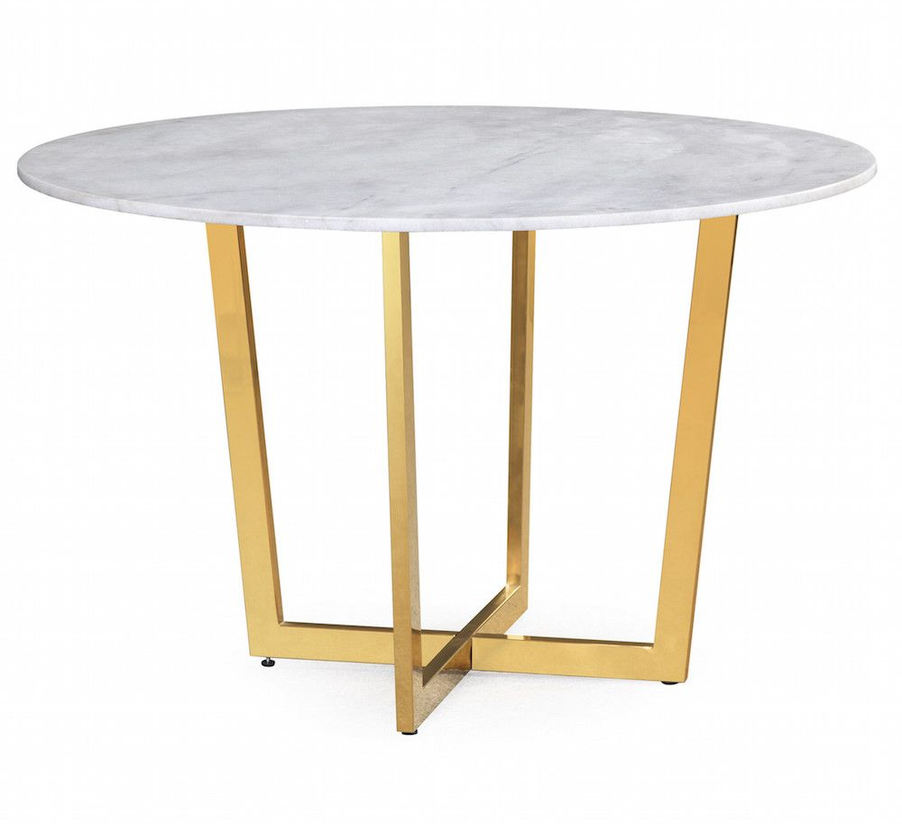 White Marble Dining Table With Four Gold Legs Dining Table Marble Dining Table Gold Round Marble Dining Table