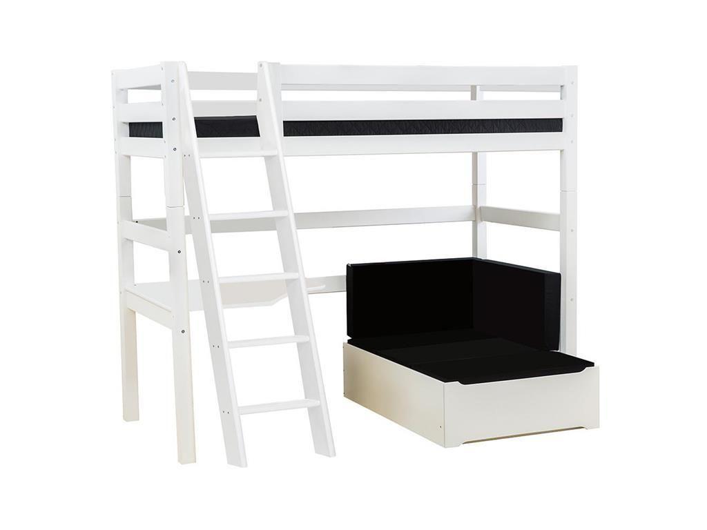 Etagenbett Ecke : Hoppekids premium hochbett weiß mit lounge ecke tischplatte und