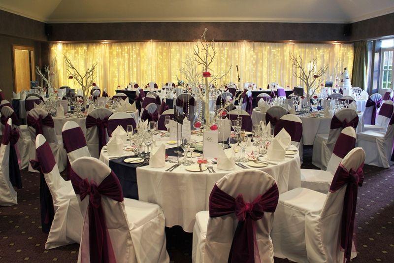 Wedding Breakfast Set Up Rufflets House Hotel Navy With Fuchsia Wishing Tree Centrepieces
