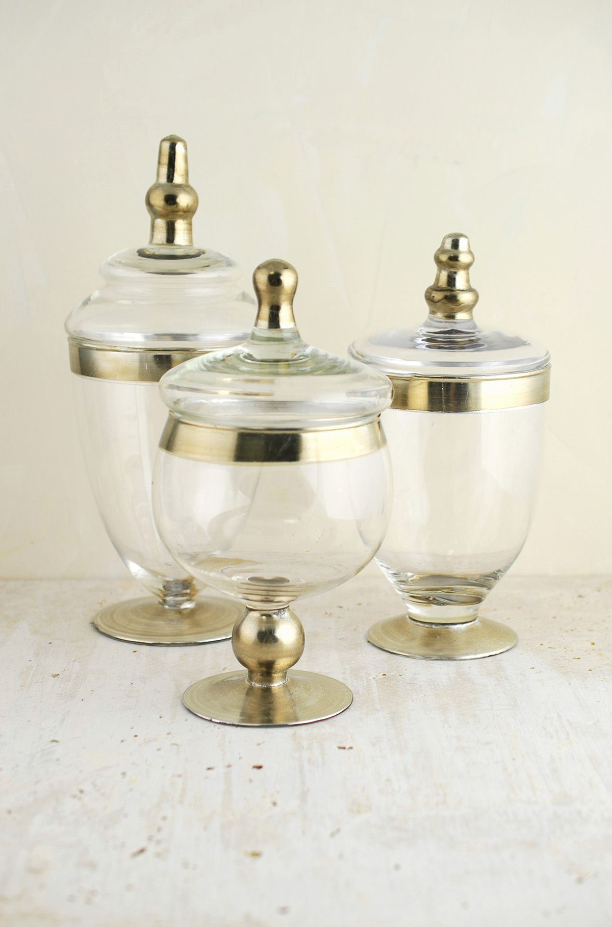 Apothecary jars with silver accents | Apothecaries, Jar and Wedding
