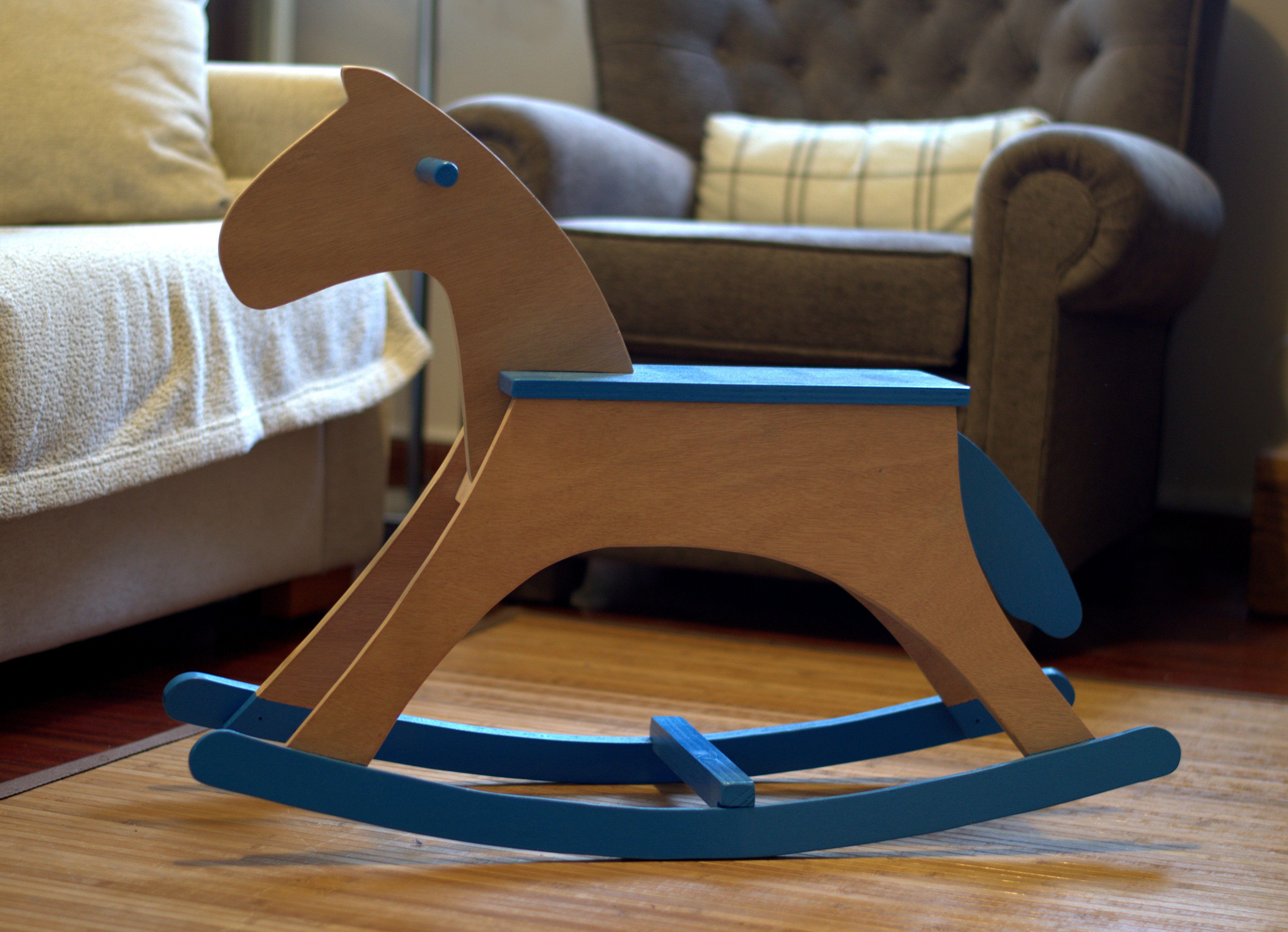 Wooden Rocking Horse Caballito De Madera Balanc N Pin Enviado  # El Foco Muebles Caballito