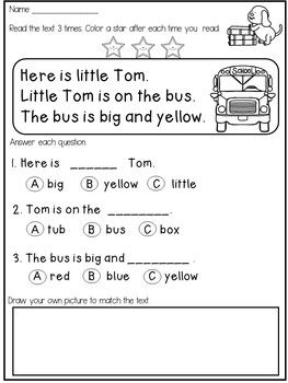 Free Kindergarten Reading Comprehension and Fluency Passages ...