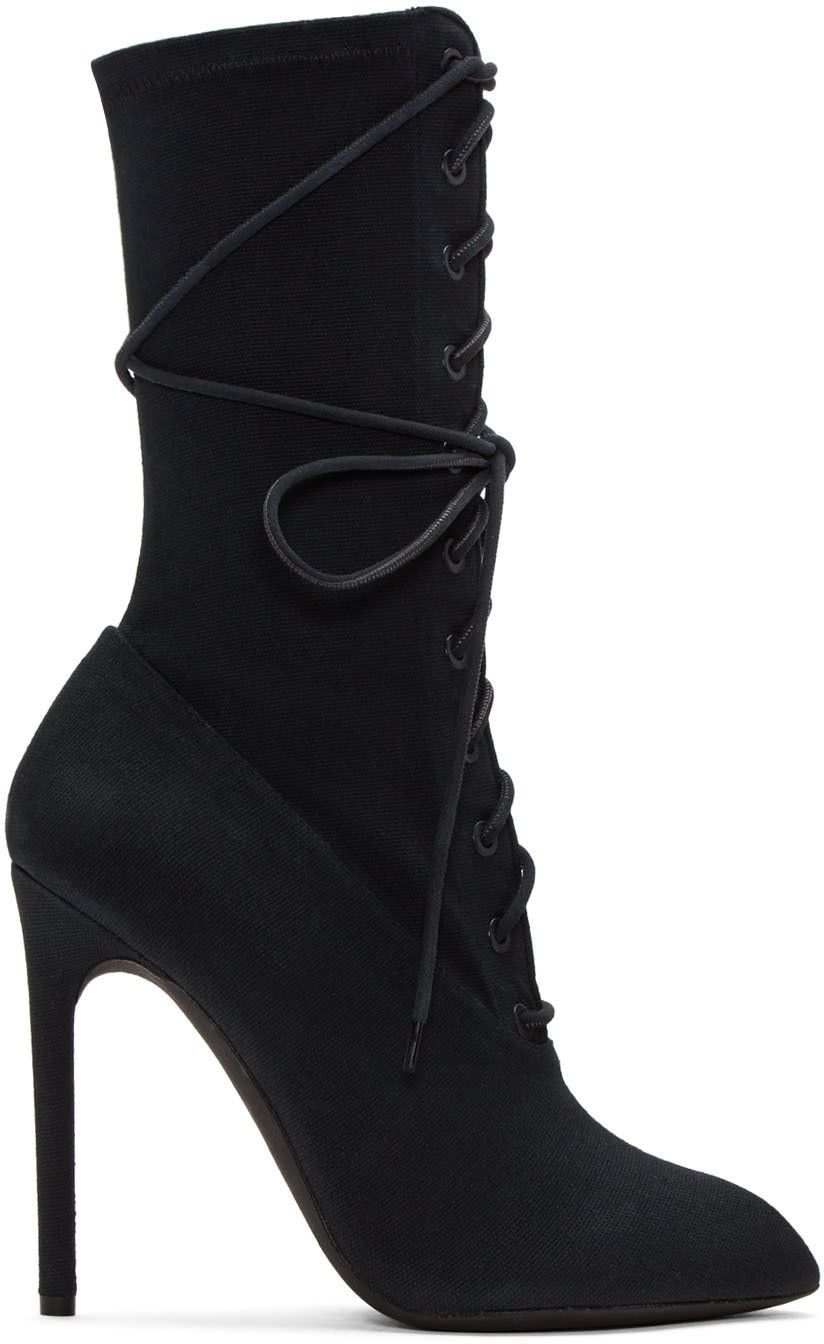 YEEZY - Black Stretch Canvas Lace-Up Boots