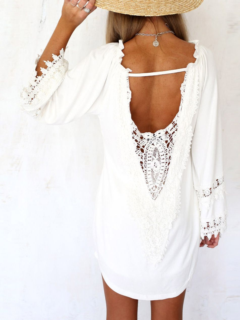 White long sleeve lace backless loose blouse fashion pinterest