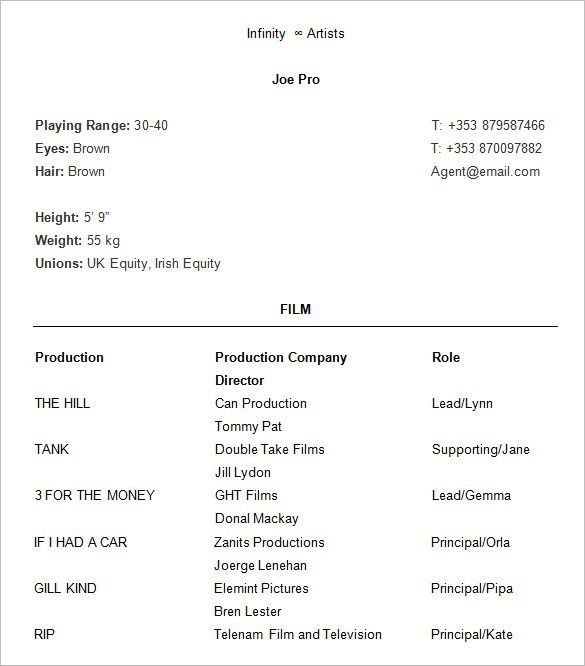 Proffesional Acting Resume  How To Create A Good Acting Resume