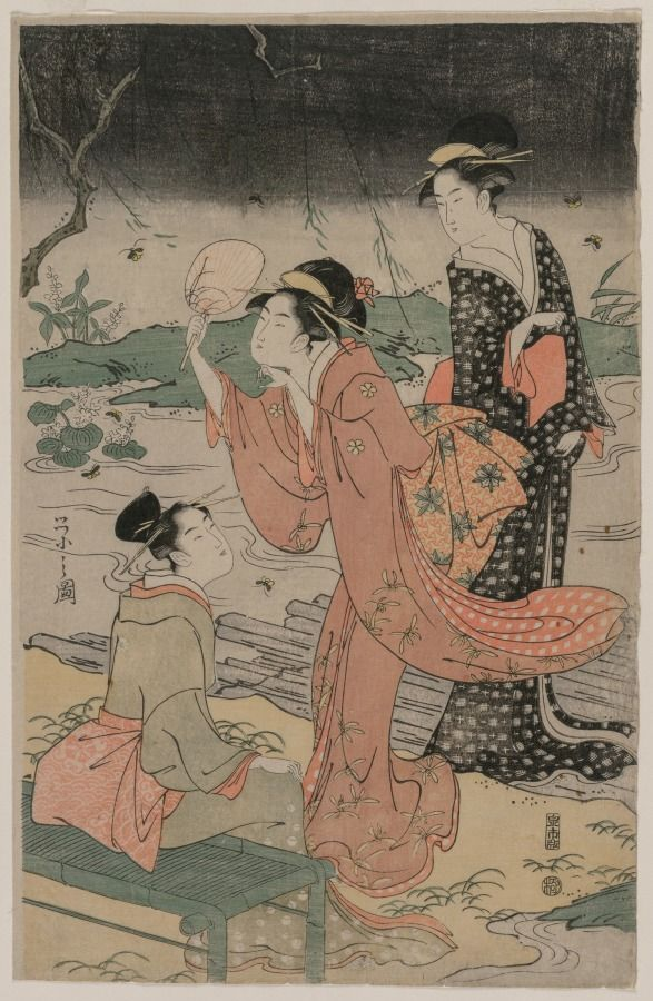 Women Beside a Stream Chasing Fireflies, mid 1790s Chobunsai Eishi (Japanese, 1756-1829)