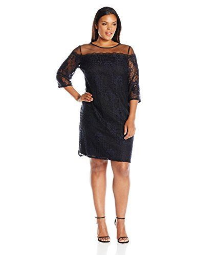 Adrianna Papell Women's Plus Size Adele Lace Shift Dress Adele lace shift dress with netting yoke and 3/4 sleevesIllusion neckline3/4LaceDate night  Dresses, outfits, outfits for girls, outfits for school, outfits for winter 2017, outfits for women, outfits with jeans and boots, strapless dresses
