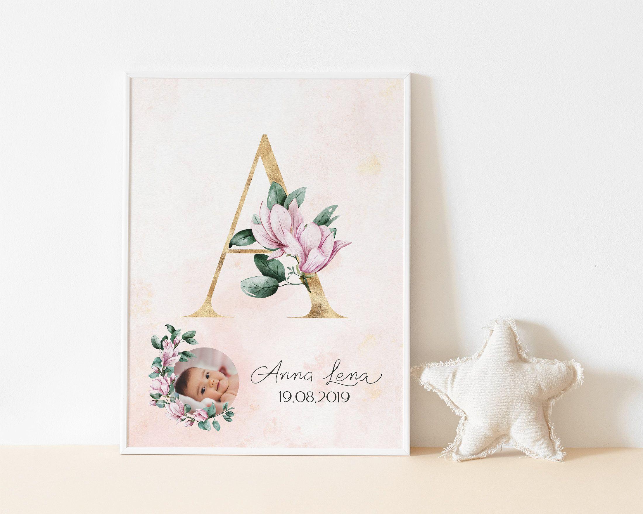 Baby Geburtsposter DIN A4 Poster Geschenk Geburt Meilensteinkarten Baby Mädchen
