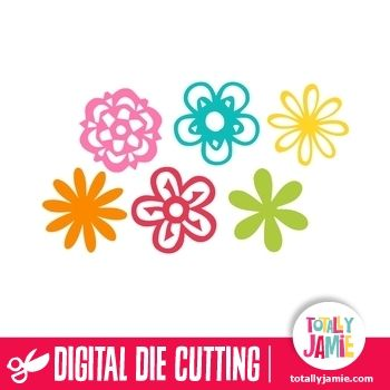 assorted flowers set 4 cutting files file format and flower designs