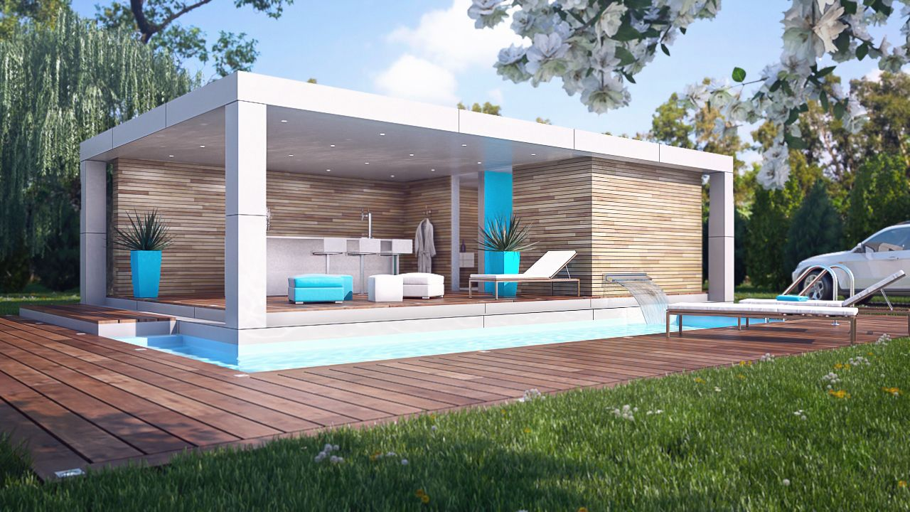 Home cube pool house pile pinterest pool houses for Construction pool house piscine