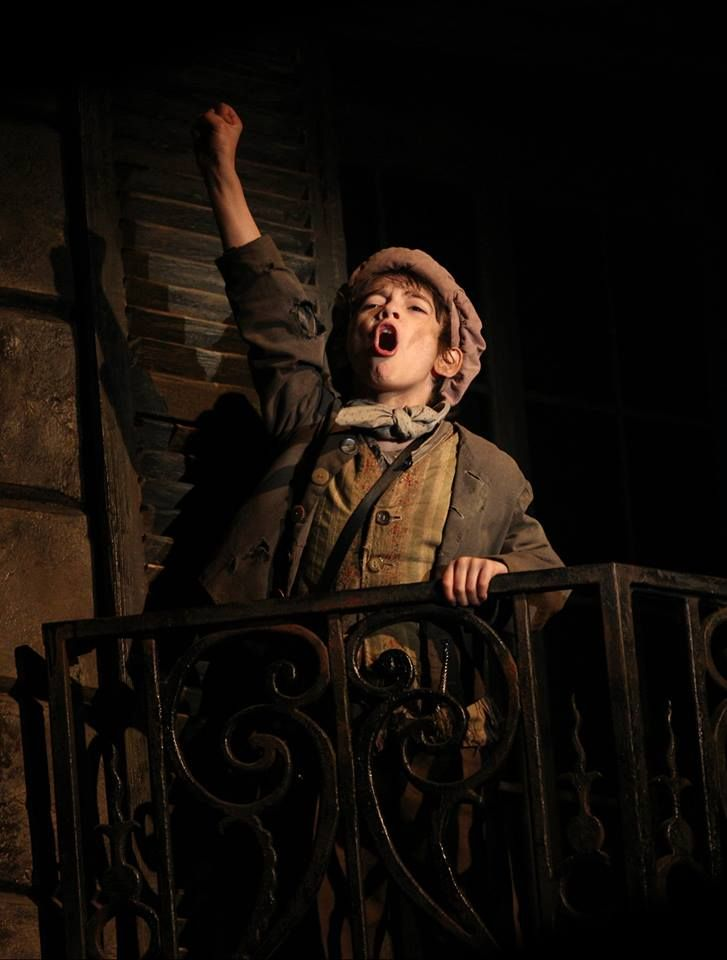 Athan Sporek as Gavroche in Les Miserables on Broadway.