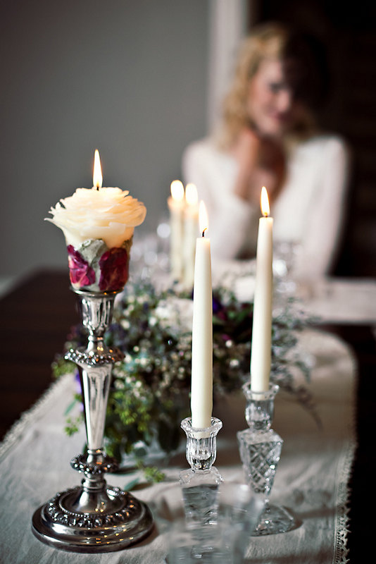 Winter Wedding Unity Candle Set Unique Candles Decor Gift Natural White Beeswax Rose Handmade By Marcie Forest