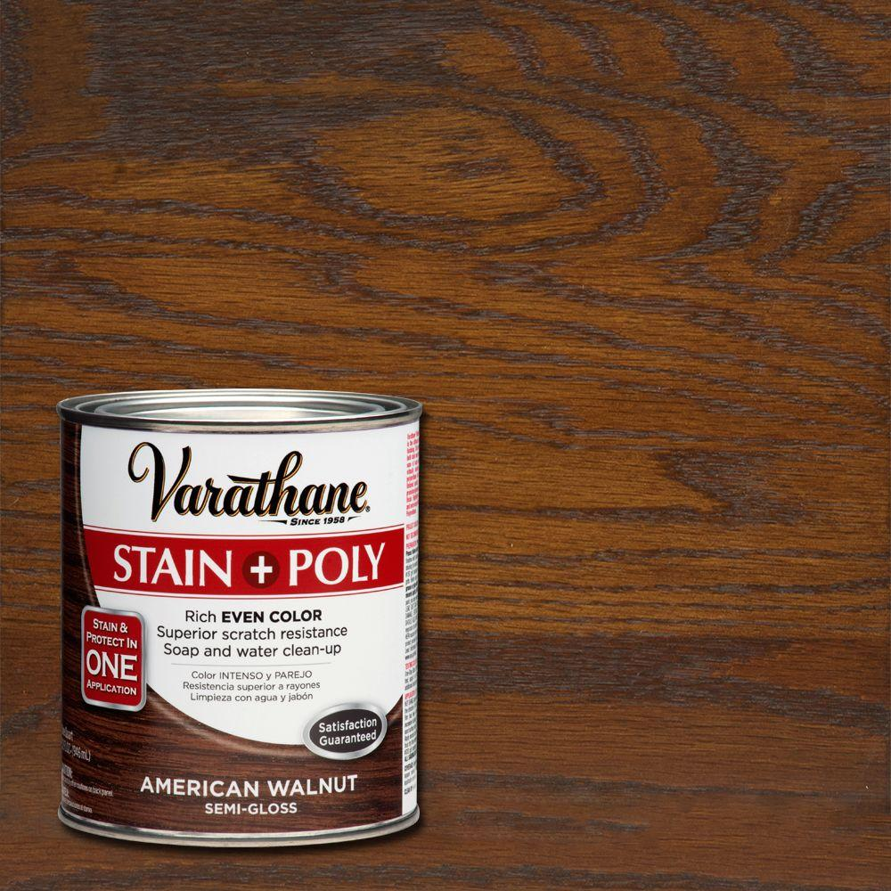 Varathane 1 Qt American Walnut Stain And Polyurethane 266162 The Home Depot Mantle Color Walnut Stain Staining Wood Dark Walnut Stain
