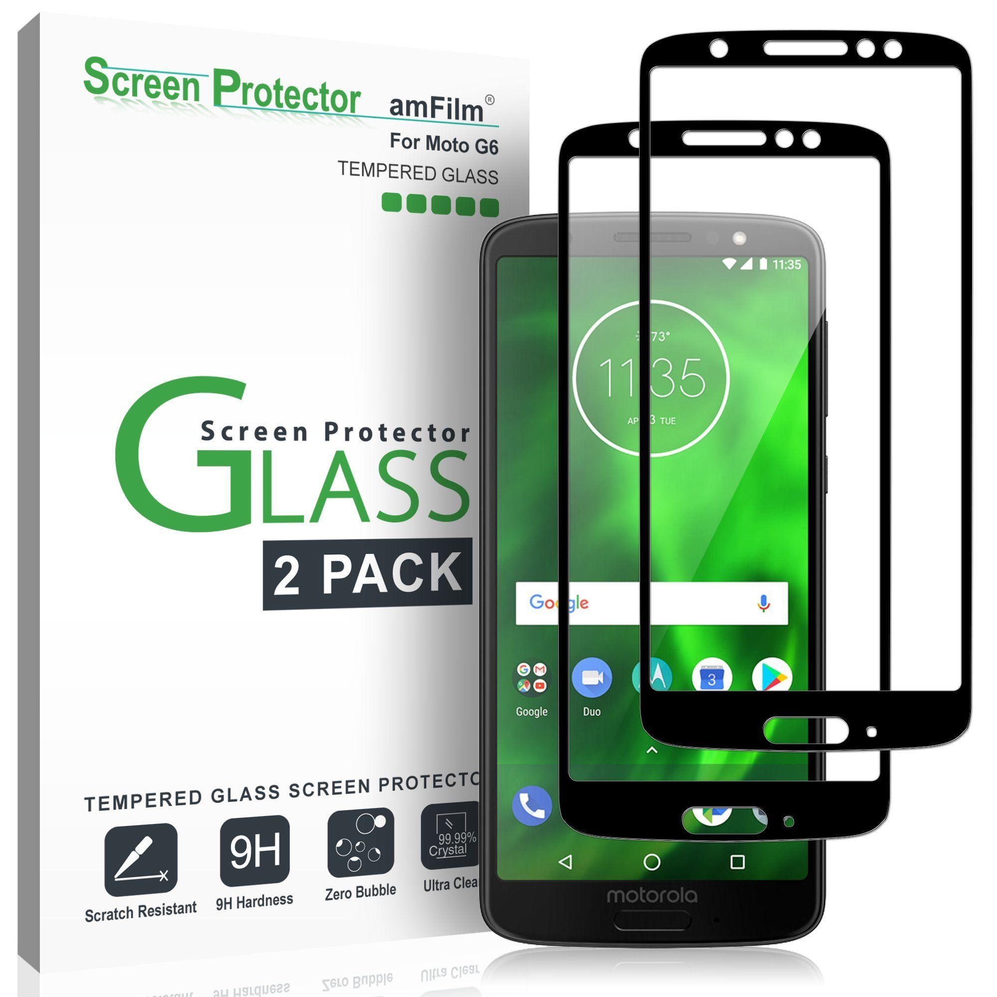 Moto G6 Screen Protector Glass Full Screen Coverage 2 Pack