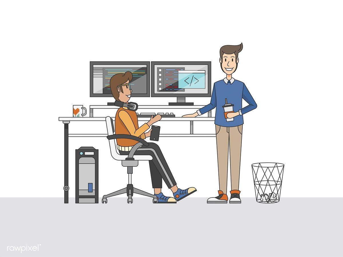 Illustration Of Programmers At A Desk Free Image By Rawpixel Com Programmers Desk Vector Free Illustration