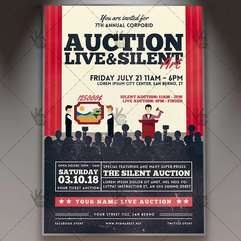 Auction  Premium Flyer Psd Template Allpay Annual Antiques