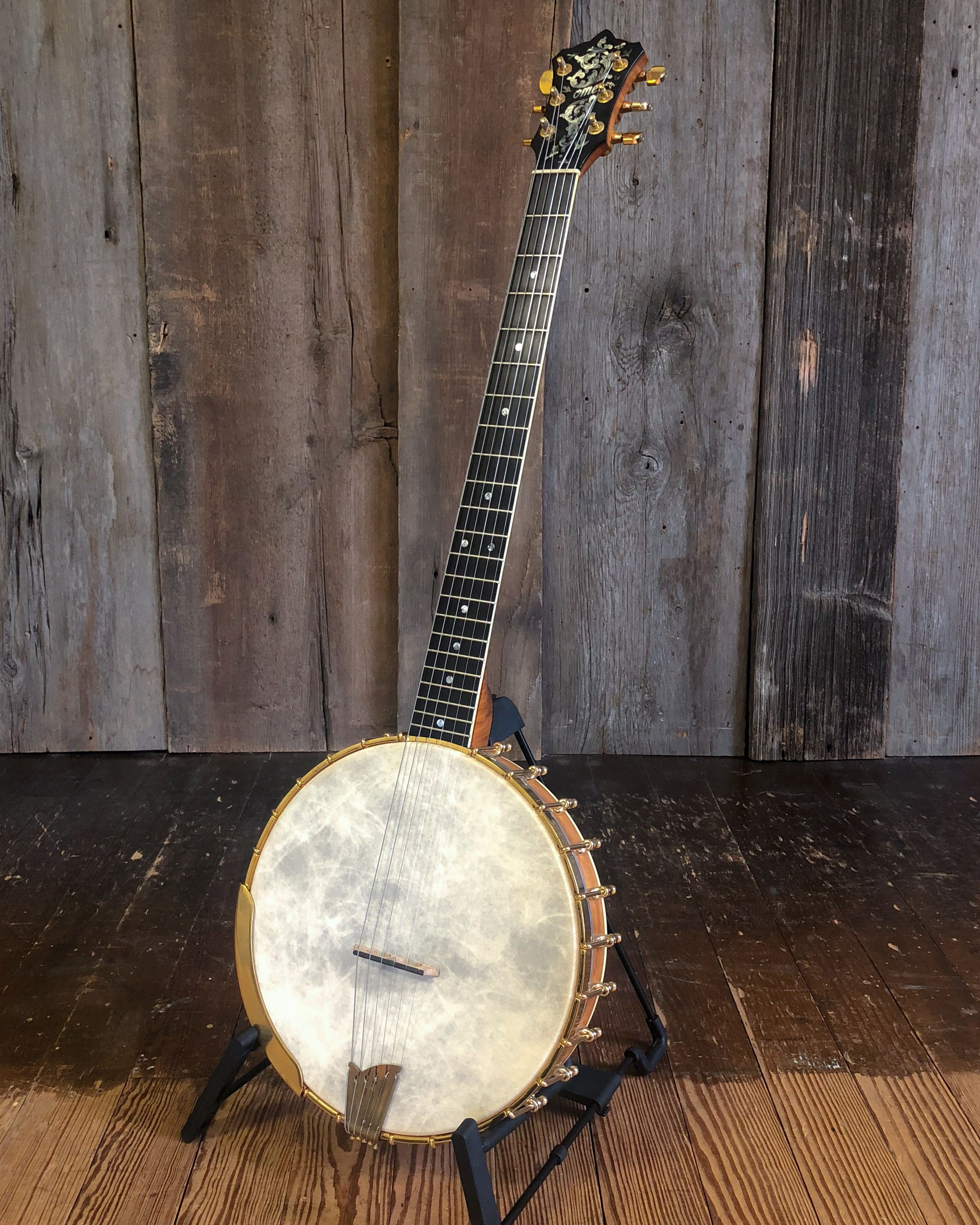 This OME Custom Gold Magician Banjo-Guitar features a 12