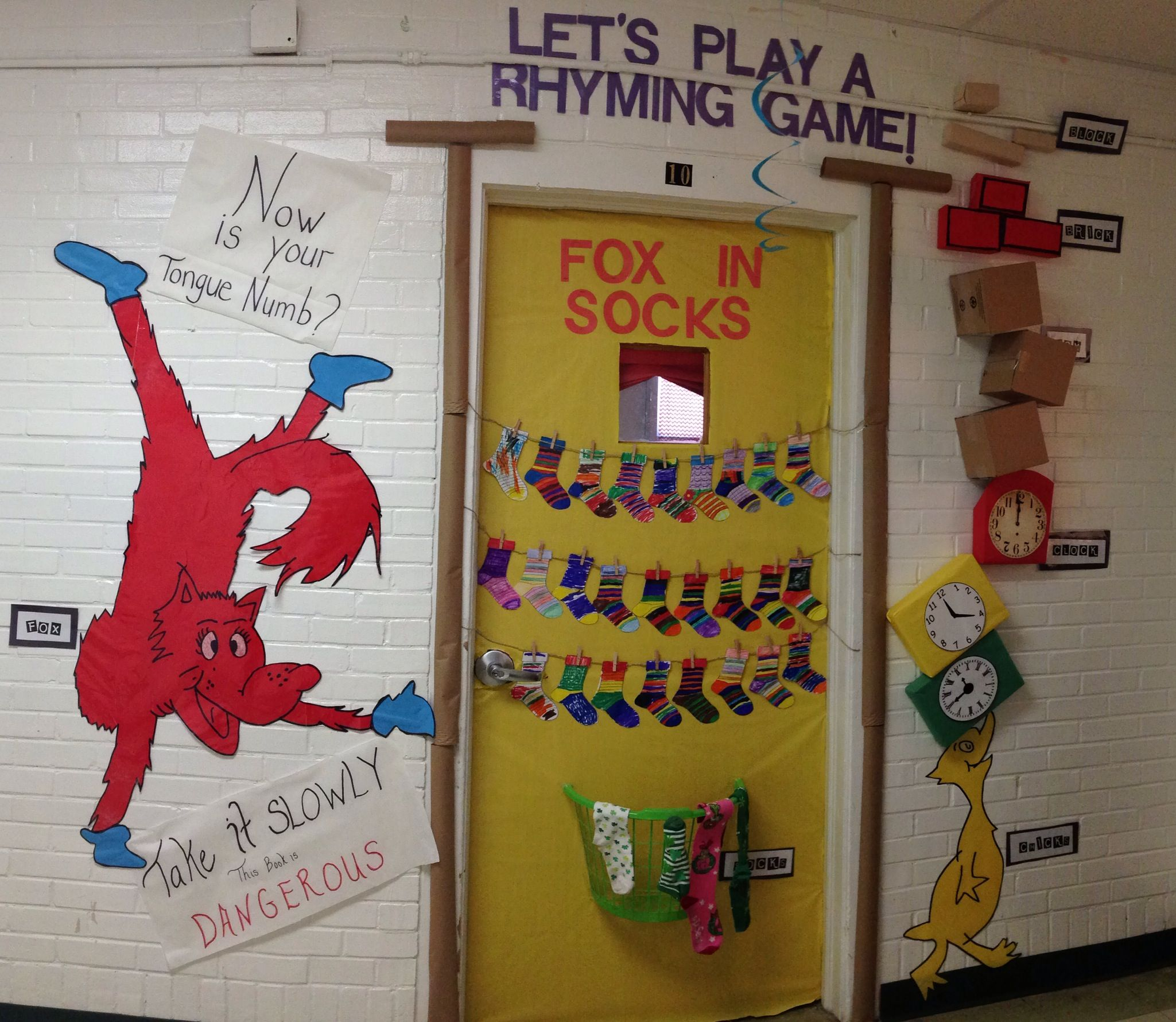 Read across America week! Fox in socks door decoration. | Dr. Seuss ...